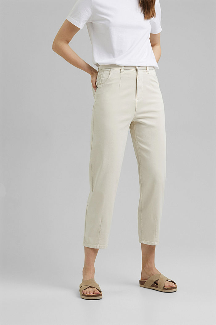 Cropped trousers with stretch, organic cotton, ICE, detail image number 0