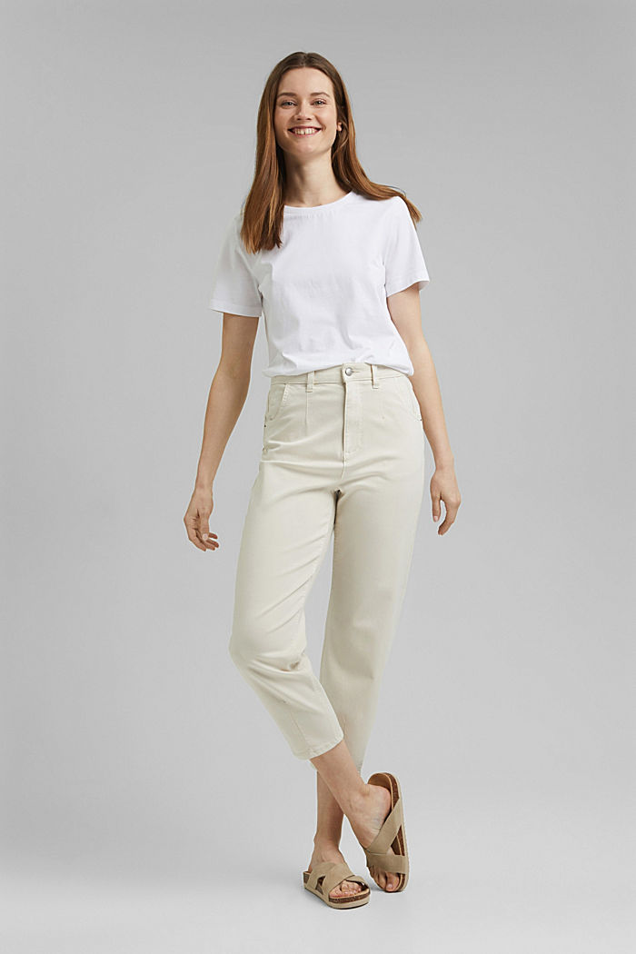 Cropped trousers with stretch, organic cotton, ICE, detail image number 1