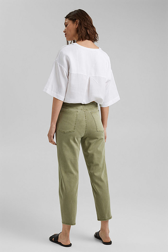 Cropped trousers with stretch, organic cotton, LIGHT KHAKI, detail image number 3