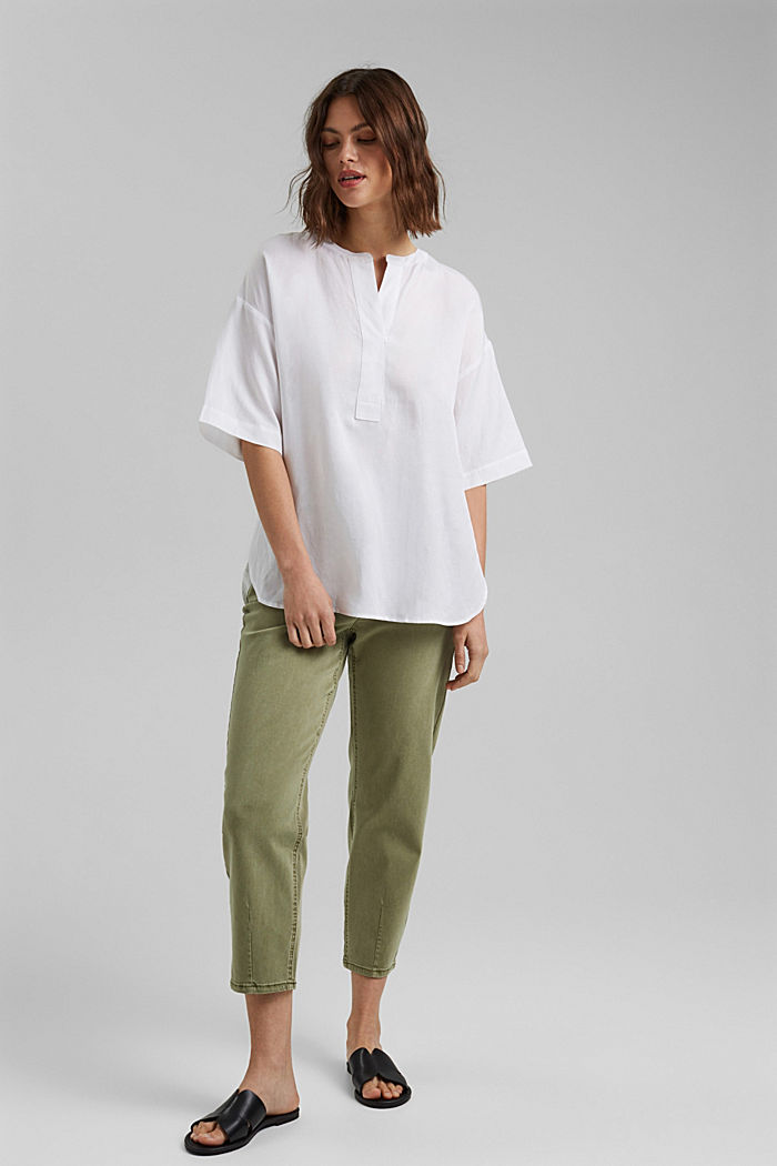 Cropped trousers with stretch, organic cotton, LIGHT KHAKI, detail image number 1