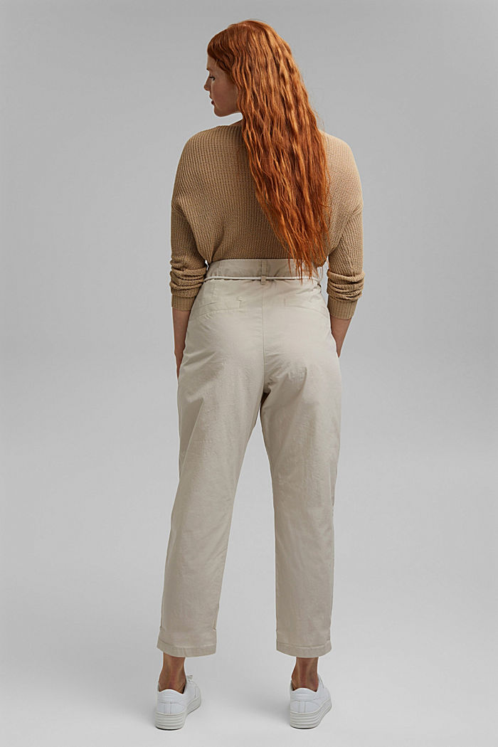 CURVY chinos with a tie-around belt, organic cotton, LIGHT BEIGE, detail image number 3