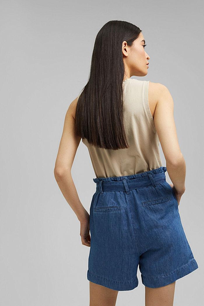 Aus Leinen/Baumwolle: Shorts im Paperbag-Stil, BLUE MEDIUM WASHED, detail image number 3