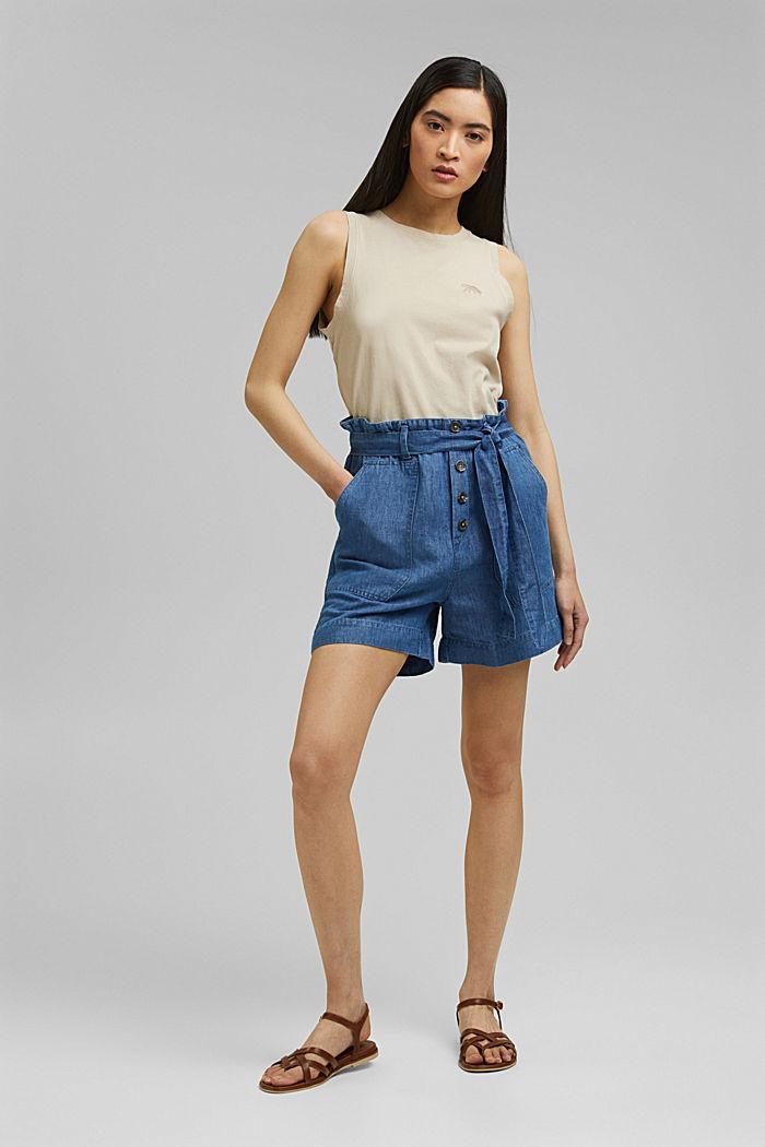 Aus Leinen/Baumwolle: Shorts im Paperbag-Stil, BLUE MEDIUM WASHED, detail image number 7