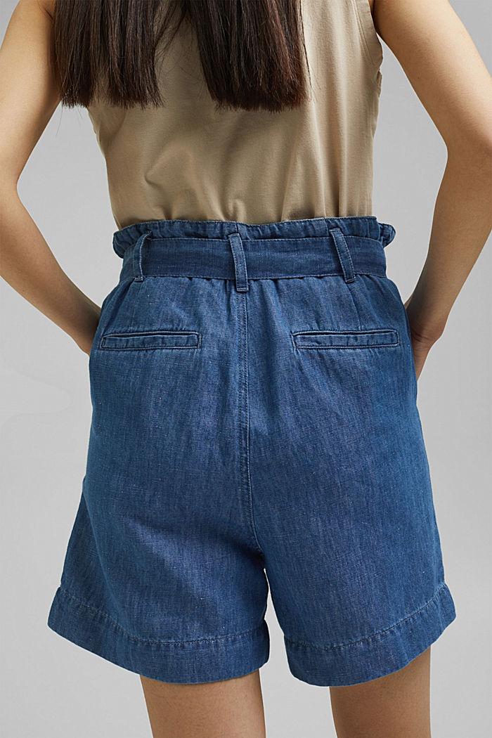 Aus Leinen/Baumwolle: Shorts im Paperbag-Stil, BLUE MEDIUM WASHED, detail image number 5