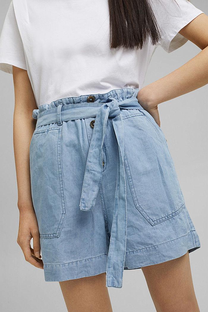 Ze lnu/bavlny: šortky ve stylu paperbag, BLUE LIGHT WASHED, detail image number 2