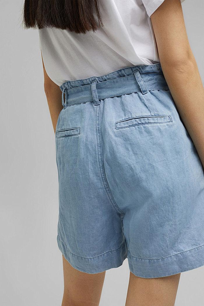 Ze lnu/bavlny: šortky ve stylu paperbag, BLUE LIGHT WASHED, detail image number 5