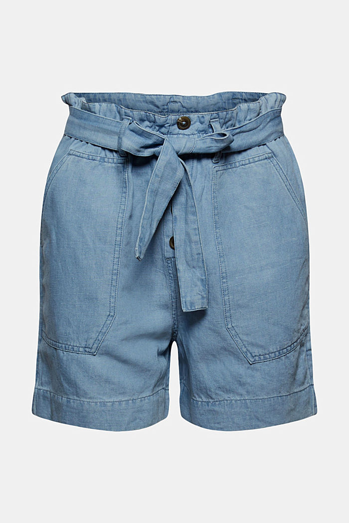 Made of linen/cotton: shorts in a paper bag style