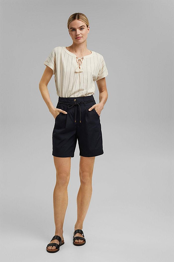 High-Rise-Shorts mit Gürtel, Bio-Baumwolle, BLACK, detail image number 0