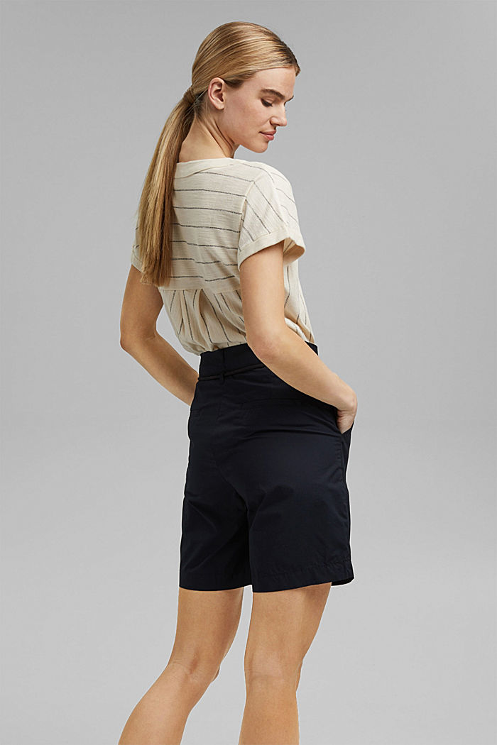 High-Rise-Shorts mit Gürtel, Bio-Baumwolle, BLACK, detail image number 3