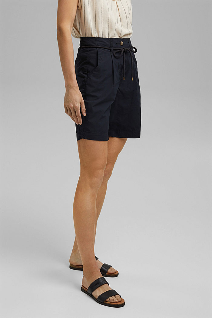 High-Rise-Shorts mit Gürtel, Bio-Baumwolle, BLACK, detail image number 6