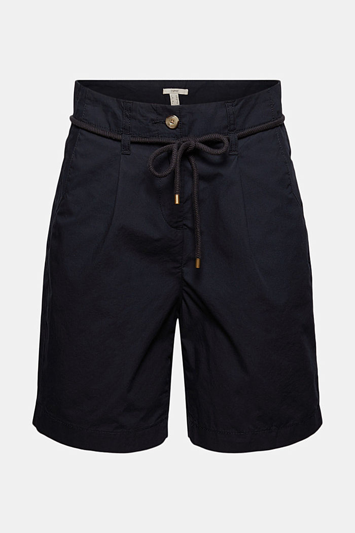 High-Rise-Shorts mit Gürtel, Bio-Baumwolle, BLACK, detail image number 7