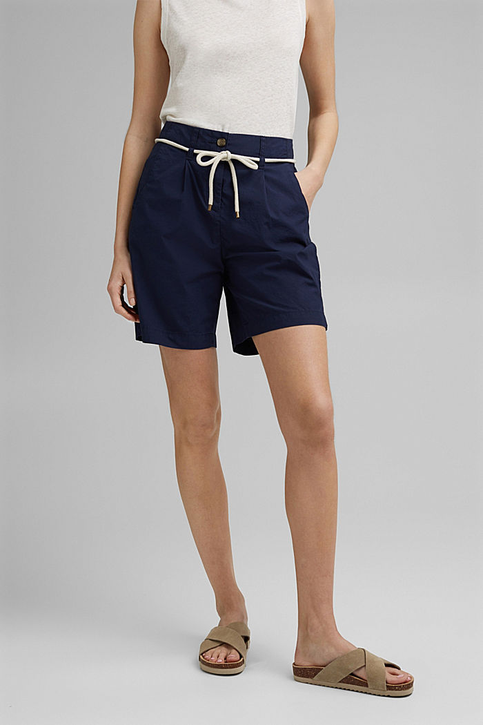 High-rise shorts with belt, organic cotton, NAVY, detail image number 0