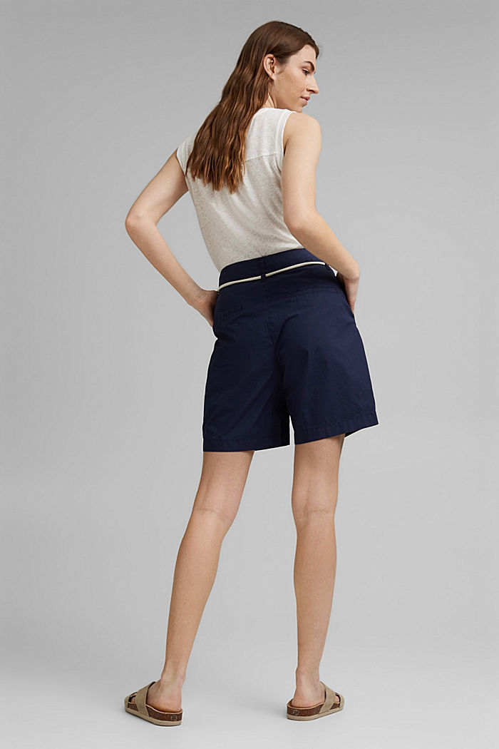 High-rise shorts with belt, organic cotton, NAVY, detail image number 3