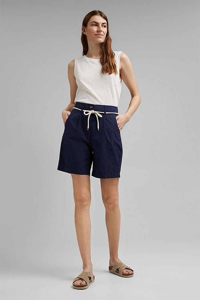 High-rise shorts with belt, organic cotton, NAVY, detail image number 1