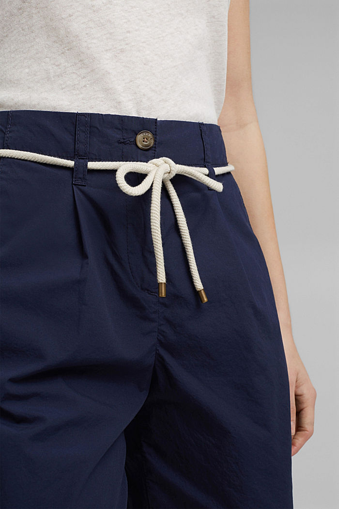 High-rise shorts with belt, organic cotton, NAVY, detail image number 2