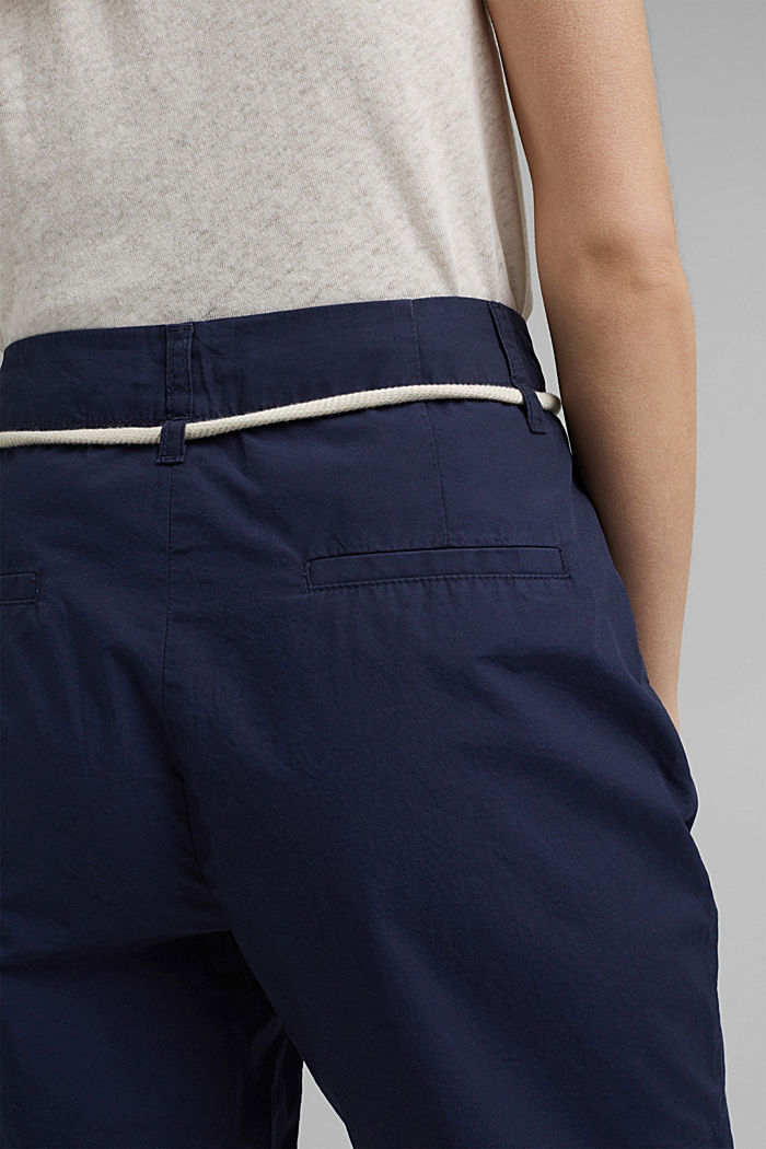 High-rise shorts with belt, organic cotton, NAVY, detail image number 5