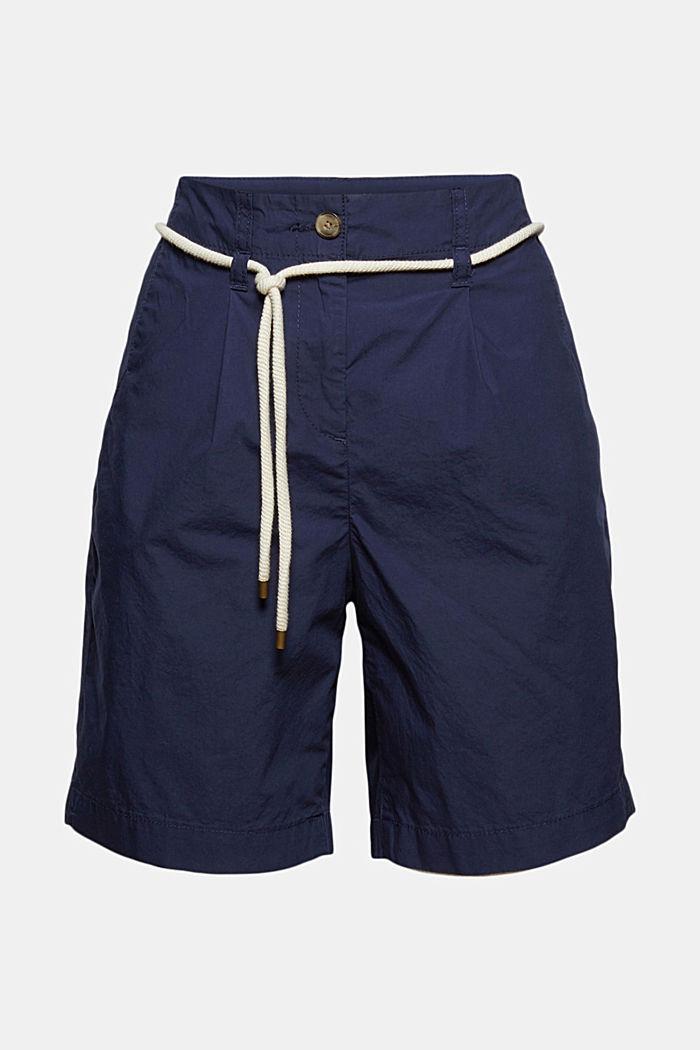 High-Rise-Shorts mit Gürtel, Bio-Baumwolle