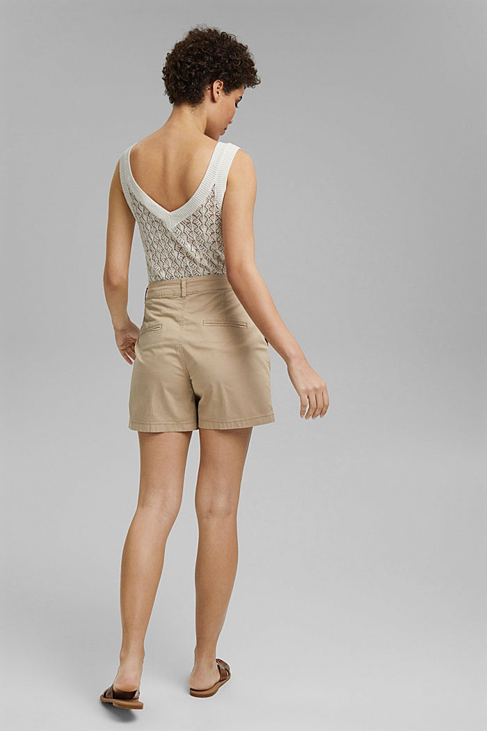 Stretch cotton shorts with waist pleats, SAND, detail image number 3