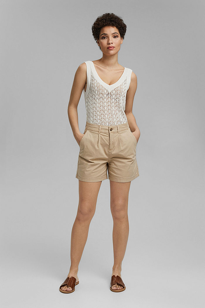 Stretch cotton shorts with waist pleats, SAND, detail image number 1