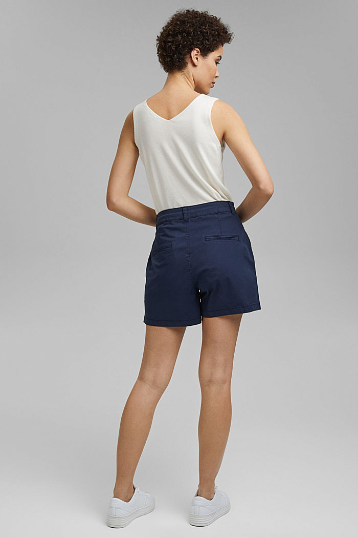 Stretch cotton shorts with waist pleats, NAVY, detail image number 3