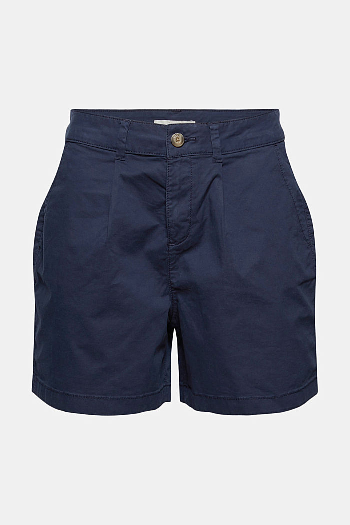 Stretch cotton shorts with waist pleats