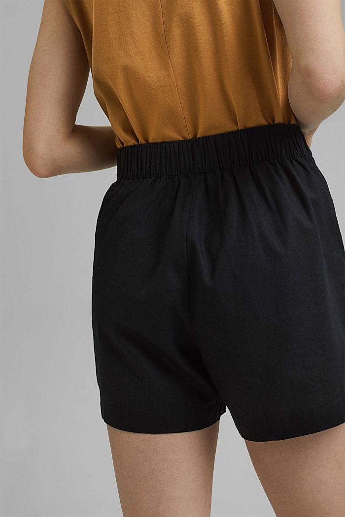 En chanvre mélangé: le short à taille élastique, BLACK, detail image number 5