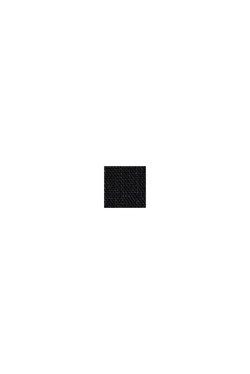 En chanvre mélangé: le short à taille élastique, BLACK, swatch