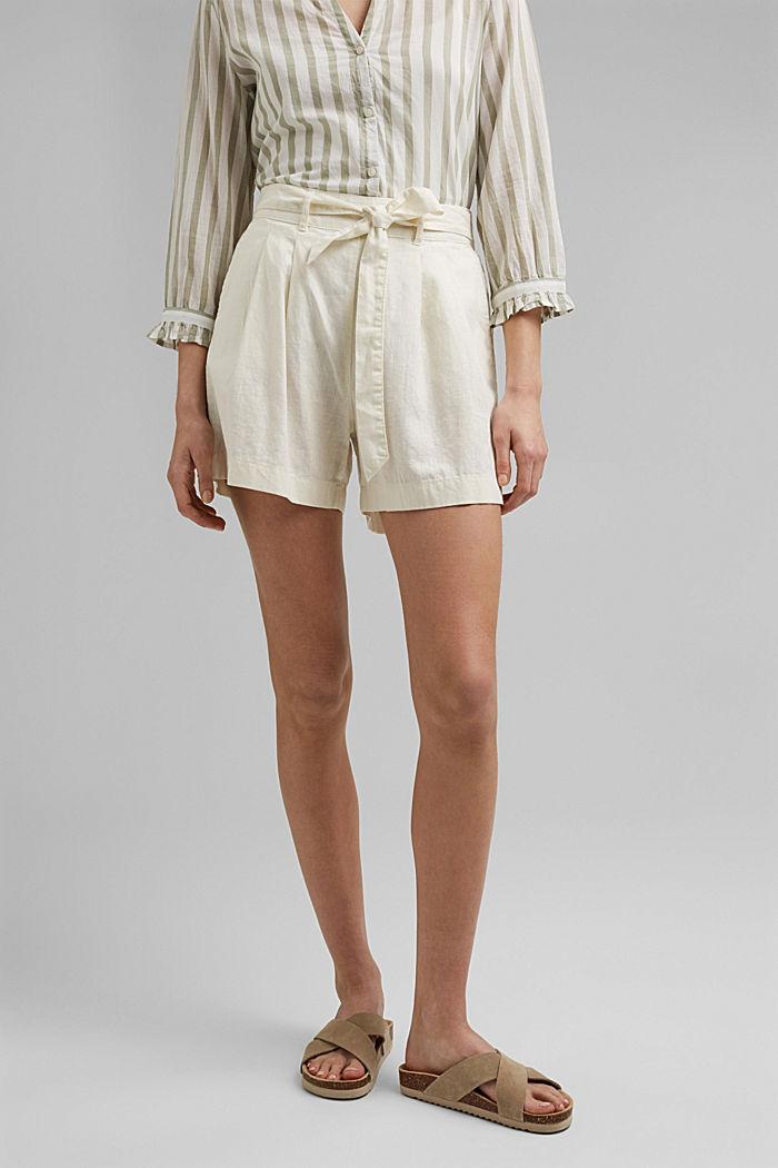 Hanf-Mix: Shorts mit Gummibund, OFF WHITE, detail image number 0