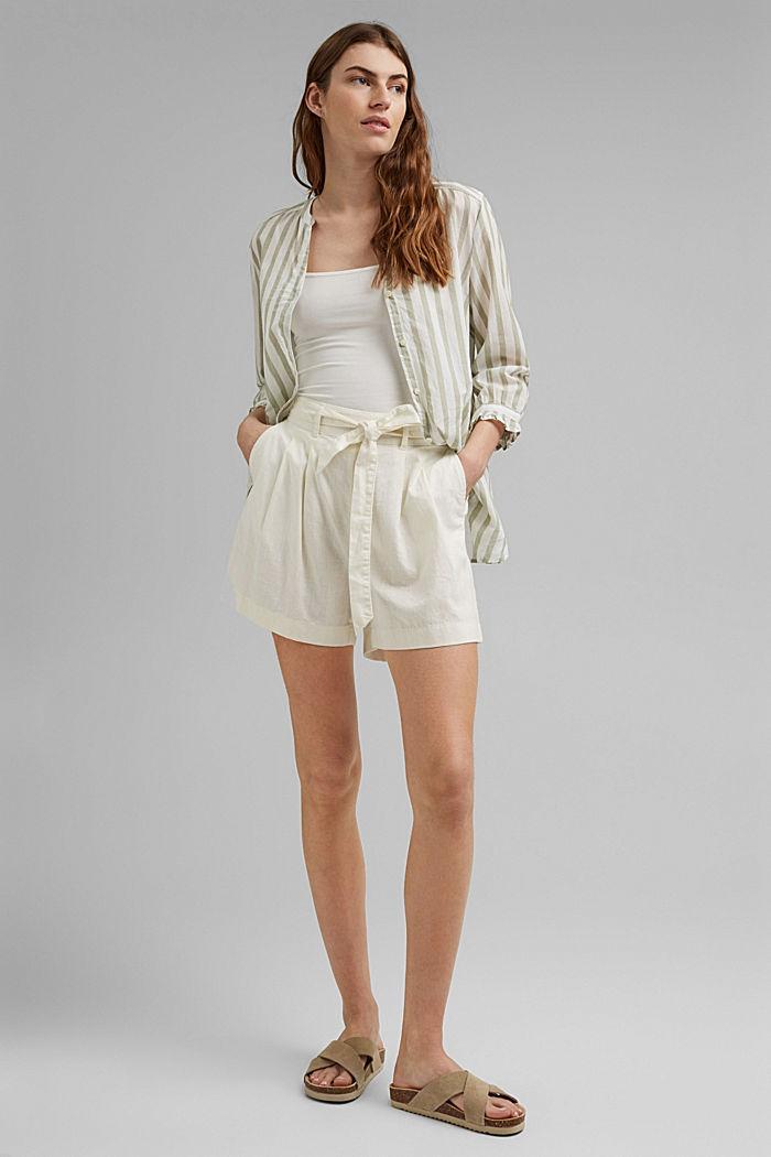 Hanf-Mix: Shorts mit Gummibund, OFF WHITE, detail image number 1