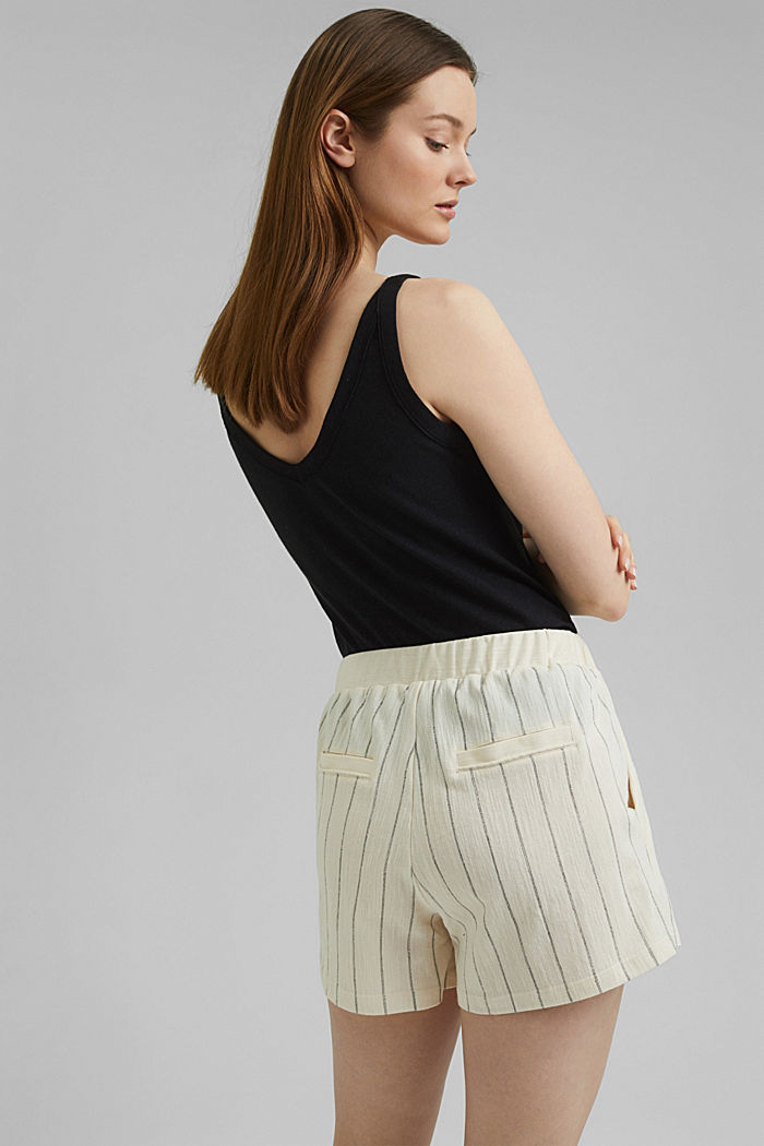 Striped woven shorts made with organic cotton, OFF WHITE, detail image number 3
