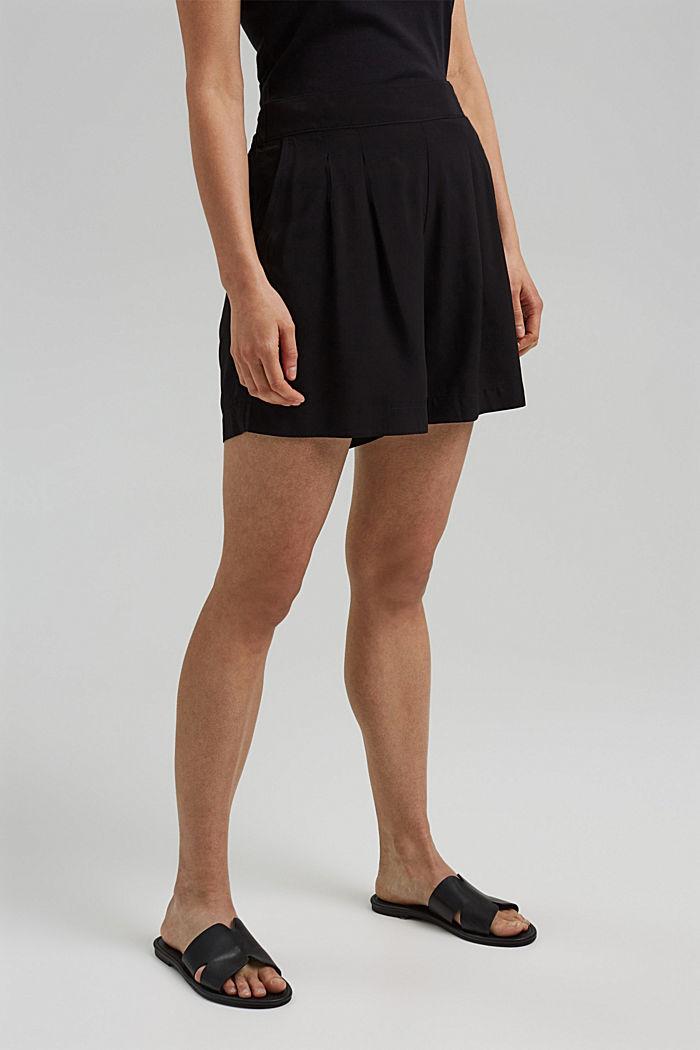 Leichte Shorts mit Gummibund, BLACK, detail image number 0