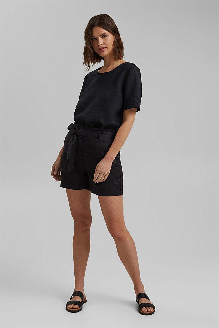 Aus 100% Leinen: Shorts mit Gürtel, BLACK, detail image number 1