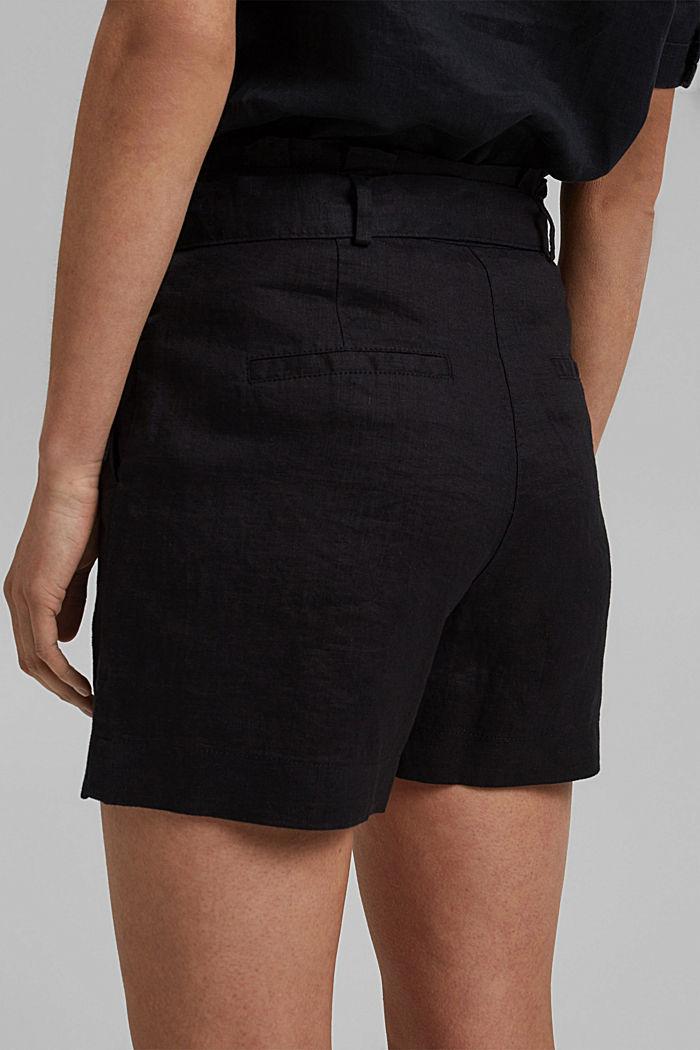 Aus 100% Leinen: Shorts mit Gürtel, BLACK, detail image number 5