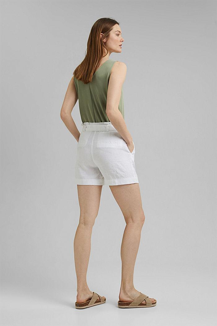 Van 100% linnen: short met ceintuur, WHITE, detail image number 3