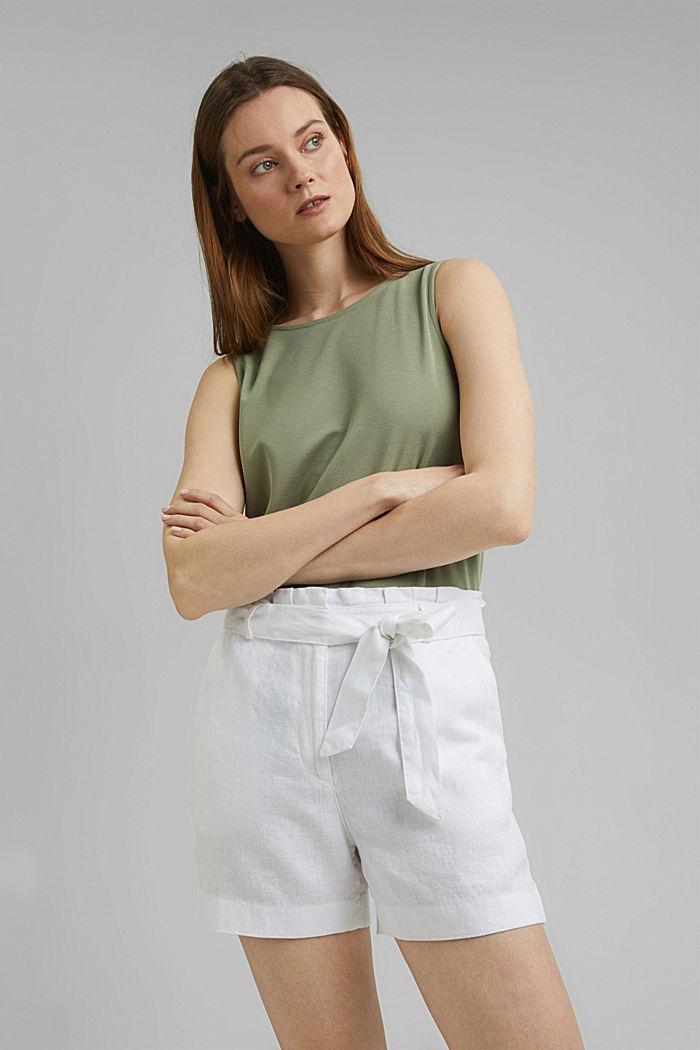 Van 100% linnen: short met ceintuur, WHITE, detail image number 6