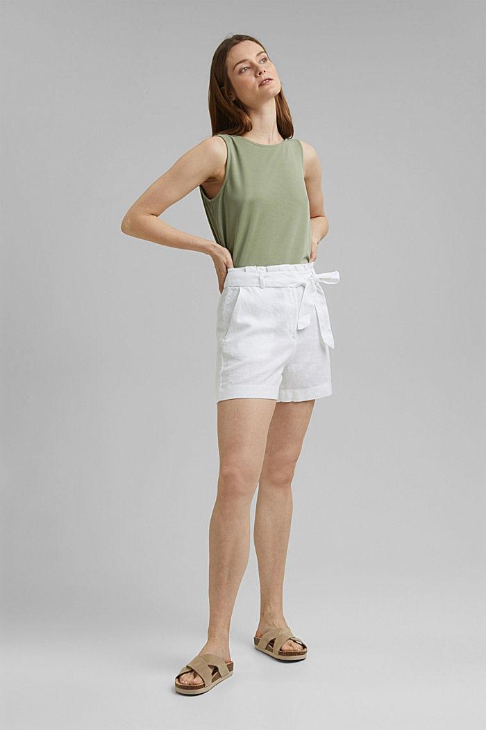 Van 100% linnen: short met ceintuur, WHITE, detail image number 1