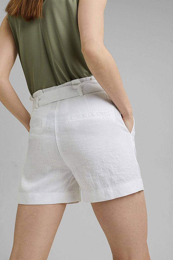 Van 100% linnen: short met ceintuur, WHITE, detail image number 5