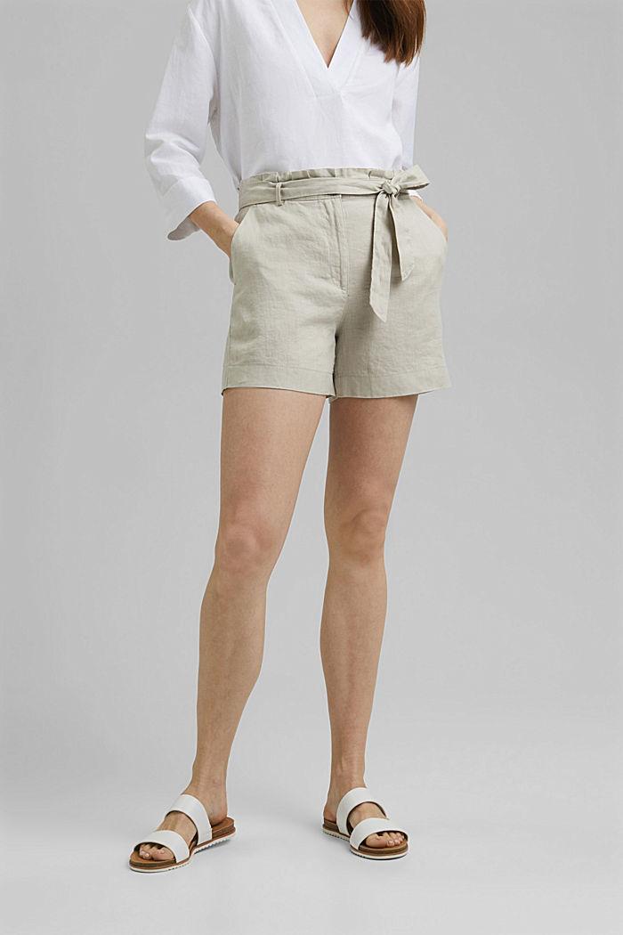 Aus 100% Leinen: Shorts mit Gürtel, SAND, detail image number 0