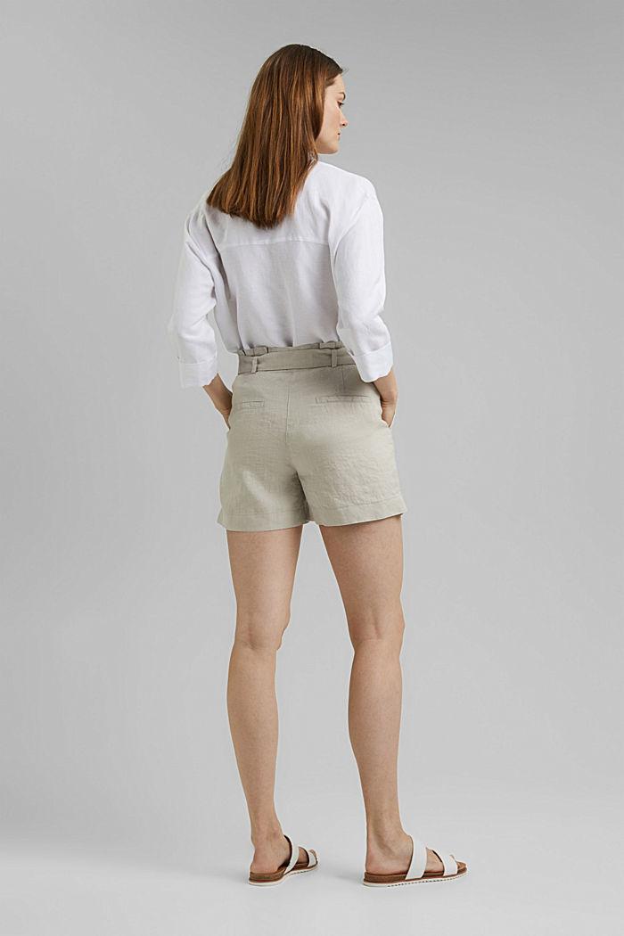 Aus 100% Leinen: Shorts mit Gürtel, SAND, detail image number 3