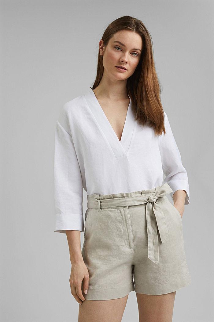 Aus 100% Leinen: Shorts mit Gürtel, SAND, detail image number 6