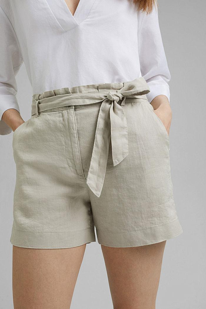 Aus 100% Leinen: Shorts mit Gürtel, SAND, detail image number 2