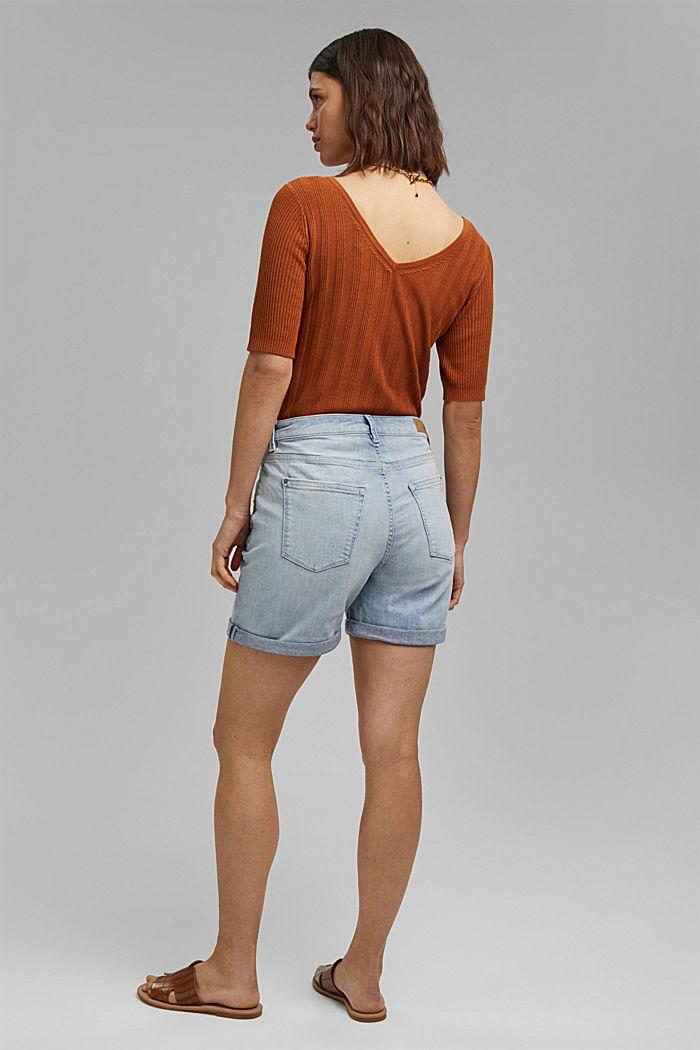 Denim shorts made of organic cotton/LYCRA®, BLUE BLEACHED, detail image number 3