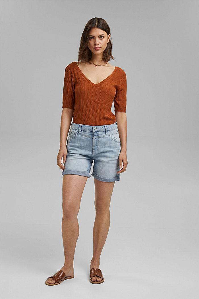 Denim shorts made of organic cotton/LYCRA®, BLUE BLEACHED, detail image number 1