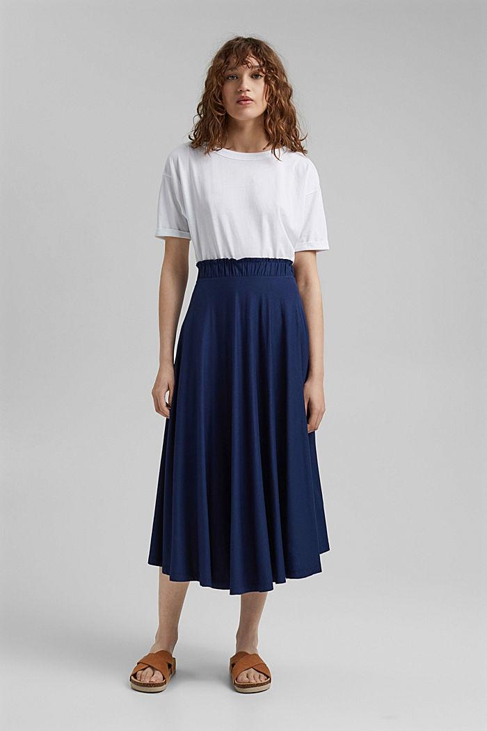 Midi skirt made jersey, LENZING™ ECOVERO™, DARK BLUE, detail image number 1