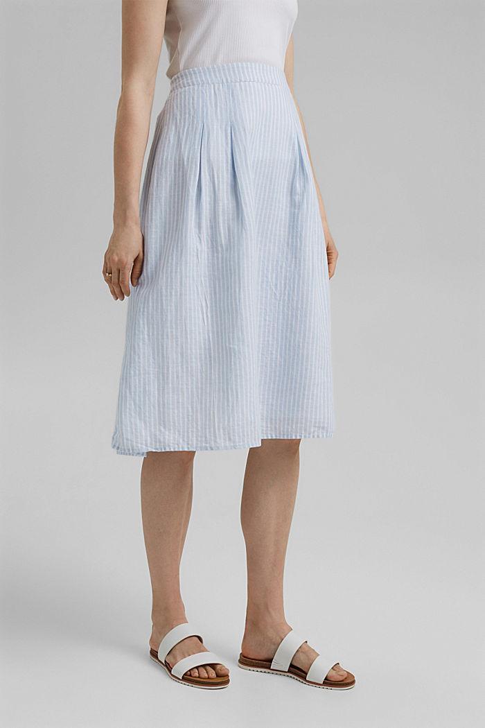 Linen blend: striped midi skirt, LIGHT BLUE, detail image number 0