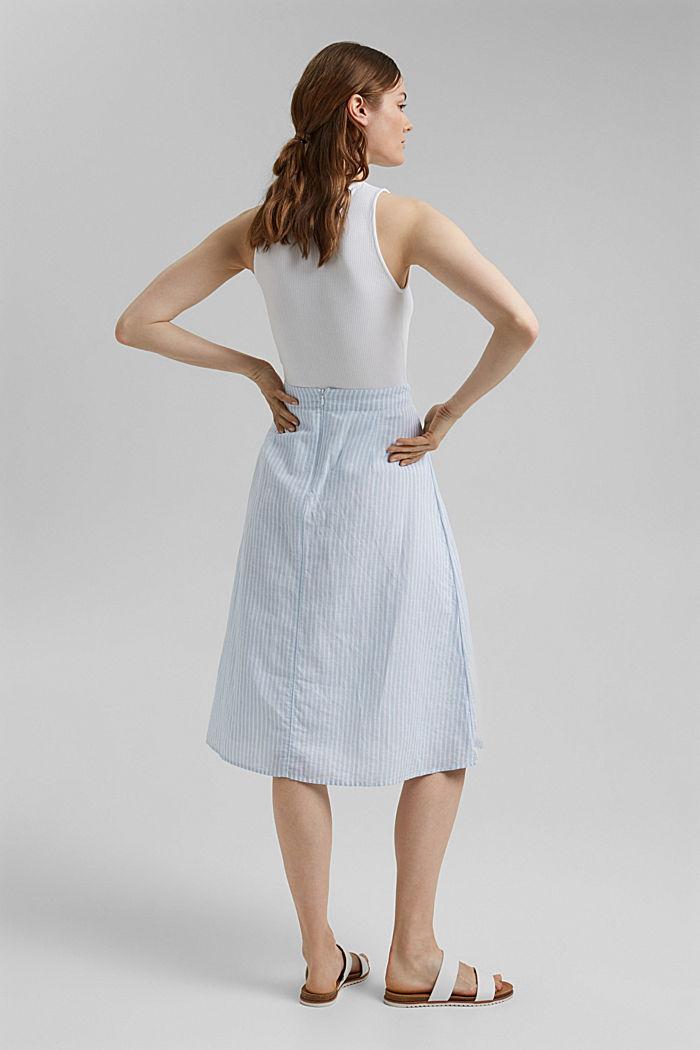 Linen blend: striped midi skirt, LIGHT BLUE, detail image number 3