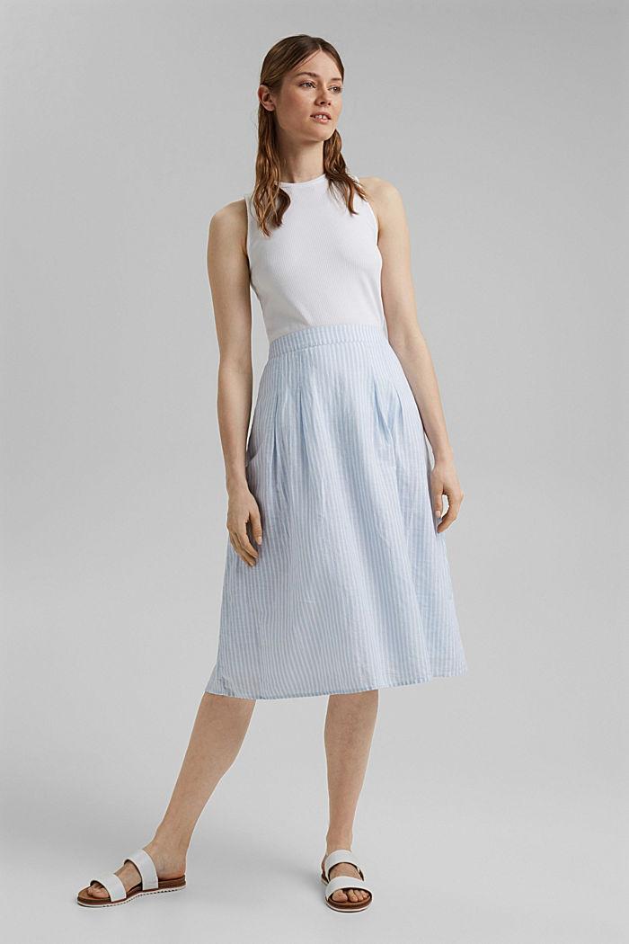 Linen blend: striped midi skirt, LIGHT BLUE, detail image number 7