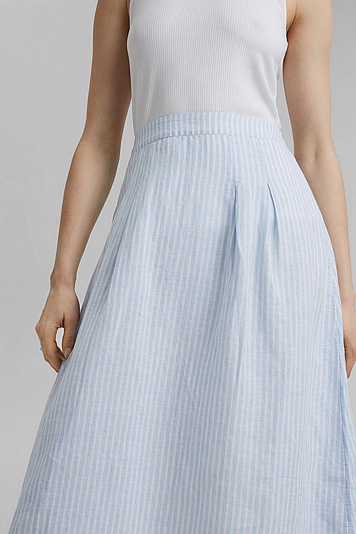 Linen blend: striped midi skirt, LIGHT BLUE, detail image number 2