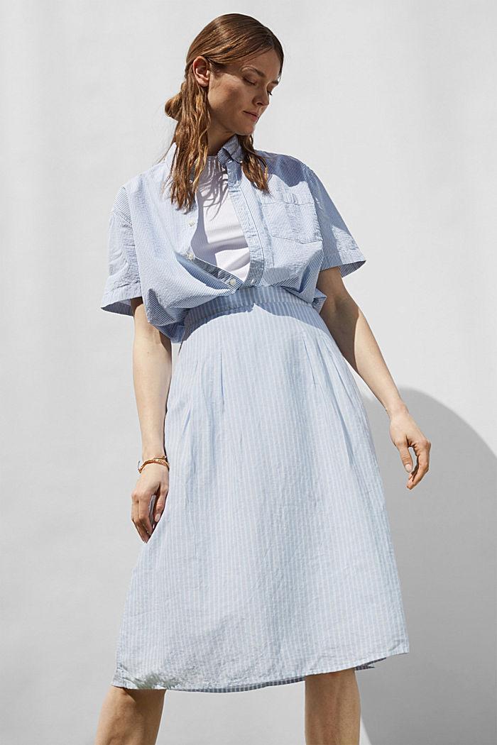 Linen blend: striped midi skirt, LIGHT BLUE, detail image number 6