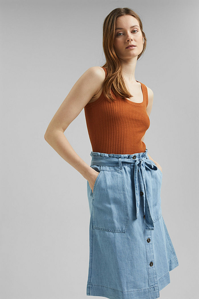 Mit Leinen: Jeansrock im Paperbag-Stil